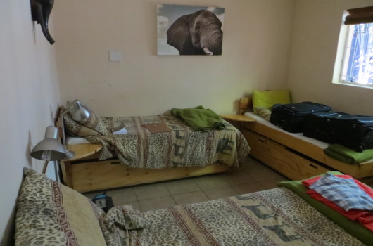 Bedroom at the African elephant research project in South Africa