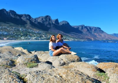 Tourists at the Camps Bay viewing point.